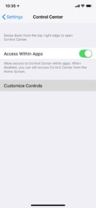 how to record your iphone screen customize controls
